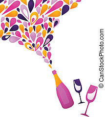 zděšený, víno, grafické pozadí, -, 3