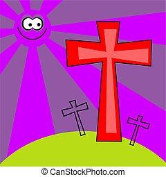 zděšený, za, velikonoční