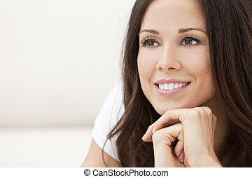 zdařilý úsměv, překrásný eny, ostatní, dále, ji, ruce