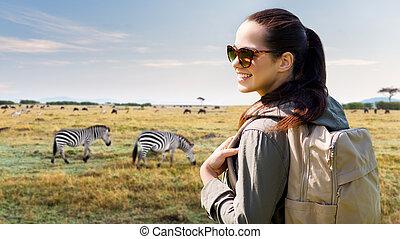 zdařilý eny, s, batoh, cestování, do, afrika
