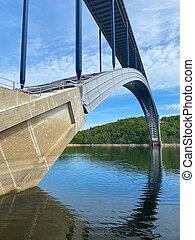 zdakov, spans, 鋼鉄, アーチ橋, vltava, republic., 川
