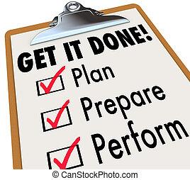 zdobywać, to, zrobiony, clipboard, checklist, plan, przygotowywać, sprawować