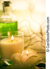 zdrój, elementy, traktowanie, naperfumowany, świece