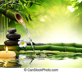 zdrój, kamienie, w, ogród, z, woda
