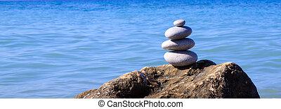 zdrój, kamienie, waga, na, plaża.