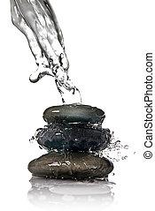 zdrój, kamienie, z, woda, bryzg, odizolowany, na białym