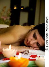 zdrój, kobieta, masaż, odprężając, przed