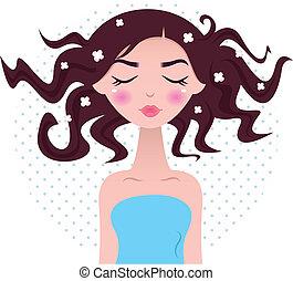 zdrój, kobieta, z, piękny, włosy, odizolowany, na, kropkowany, tło