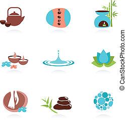 zdrój, zen, zbiór, ikony