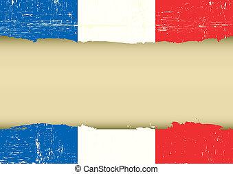 zdrapany, bandera, francuski