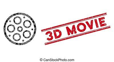 zdrapany, film, mozaika, 3d, watermark, kwestia, szpulka