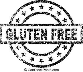 zdrapany, gluten, tłoczyć, textured, wolny, znak