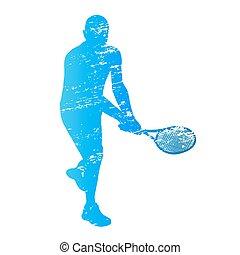 zdrapany, gracz, tenis, sylwetka, wektor