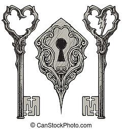 zdrapany, klawiatura, &, dziurka od klucza
