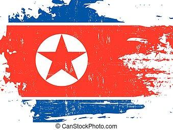 zdrapany, koreański, północ, bandera