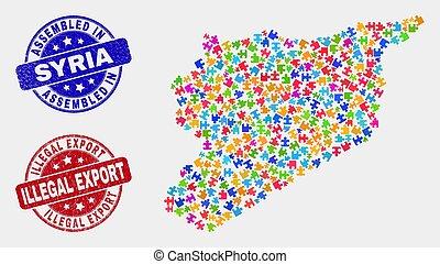 zdrapany, mapa, nielegalny, zagadka, pieczęcie, eksport, syria, zebrany