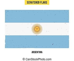 zdrapany, płaski, mały, grunge, nowoczesny, ręka, texture., bandera, wektor, projektować, odpoczynek, zadraśnięcia, pociągnięty, argentyna, surface., argentynka