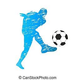 zdrapany, sylwetka, młody, gracz, wektor, piłka nożna