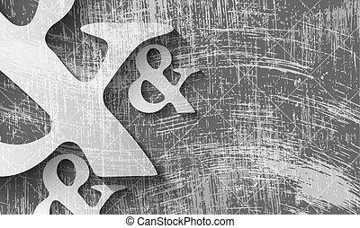 zdrapany, symbol, ampersand, przeźroczysty, tło