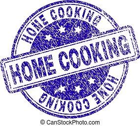 zdrapany, tłoczyć, gotowanie, textured, dom, znak