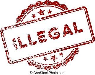 zdrapany, tłoczyć, tekst, znak, textured, nielegalny