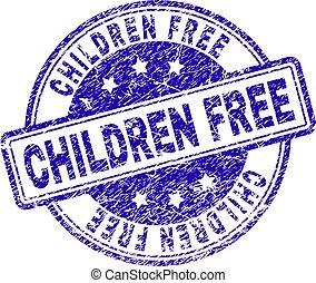 zdrapany, tłoczyć, textured, wolny, znak, dzieci