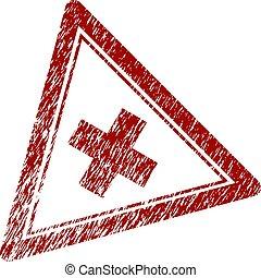 zdrapany, trójkąt, tłoczyć, textured, odrzucać, znak
