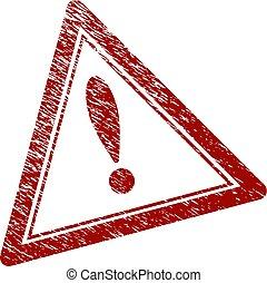 zdrapany, trójkąt, tłoczyć, textured, ostrzeżenie, znak