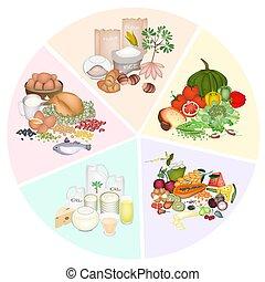 zdraví, a, výživa, prospět, o, pět, hlavní, strava skupina