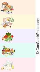 zdraví, a, výživa, prospět, o, strava skupina, dále, multicolor, prapor