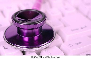 zdraví, stetoskop, samičí, péče