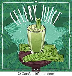 zdravý, čerstvý, celer, šťáva, s, rostlina, stopuje