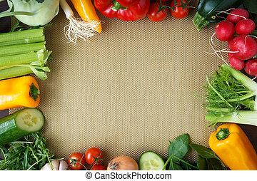 zdravý chutnat jak, grafické pozadí., neobvyklý, zelenina, dále, zlatý, kuchyně, placemats.