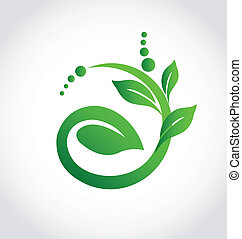 zdravý, emblém, bylina, ekologie, ikona