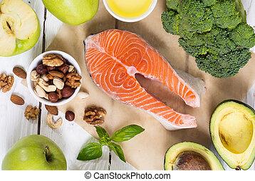 zdravý food, zelenina, cvok, a, losos