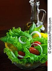 zdravý, nedávno rostlina, salát