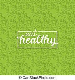 zdravý, plakát, motivační, -, jíst