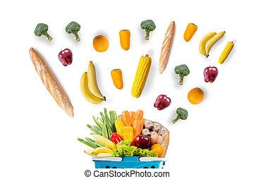 zdravotní stav food, ovoce, a, rostlina, do, supermarket, potravinářský obchod shopping, pojem