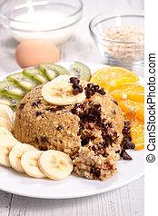zdrowe śniadanie, owoc, zboże