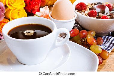zdrowe śniadanie, smakowity, romantyk