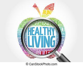zdrowe życie, jabłko, słowo, chmura