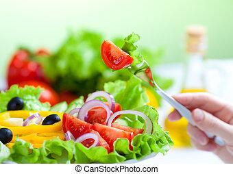 zdrowe jadło, świeża roślina, sałata, i, widelec