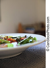 zdrowe jadło, świeży, sałata, stół
