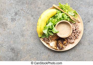 zdrowe jadło, drewno, taca, swojski