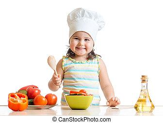 zdrowe jadło, dziewczyna, przygotowując, koźlę