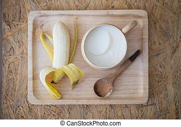 zdrowe jadło, komplet, taca, drewno