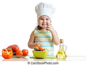 zdrowe jadło, kuchnia, przygotowując, dziecko