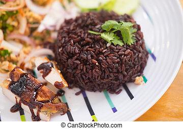 zdrowe jadło, ludowy, jagoda, ryż