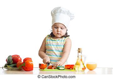 zdrowe jadło, przygotowując, dziecko, dziewczyna, kuchnia