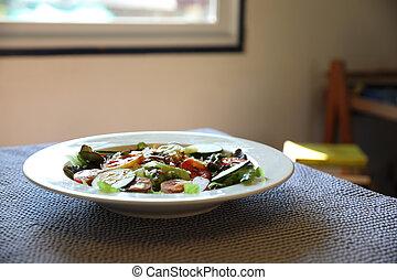zdrowe jadło, stół, świeży, sałata